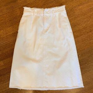 Gap 25 Petite White Belted Denim Midi Skirt